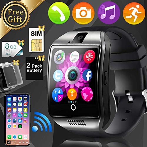 Smart Watch Phone for Men - [FREE SIM + 8G TF] Touchscreen Cell Phone Watch Unlocked Universal GSM Music Player Camera Stopwatch Sync for Android, Fitness Tracker Electronic Business Birthday Gift
