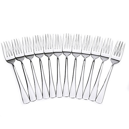 Royal 12-Piece Table Forks Set - 18/10 Stainless Steel Dinner Forks, Mirror Polished Flatware Utensils - Great Salad Forks, Use for Home, Kitchen, or Restaurant