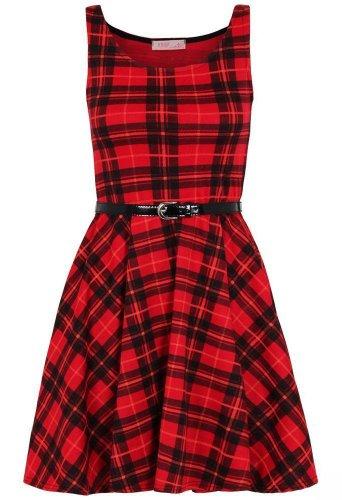 Da donna Le misure Plus con motivo scozzese a scacchi stampa con passaggio per cintura Skater vestito Rosso