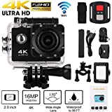 Action Camera 4K WiFi 1080P HD Remote Control Waterproof Sports Cam 170 Degree Wide-Angle DVR Camcorder