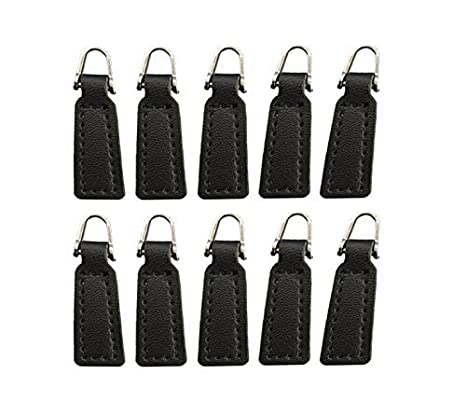 Z-COLOR 10 pack Leather Zipper Pull For Boot/Jacket/Bag/Purse Replacement and Production (Black) 4337006944