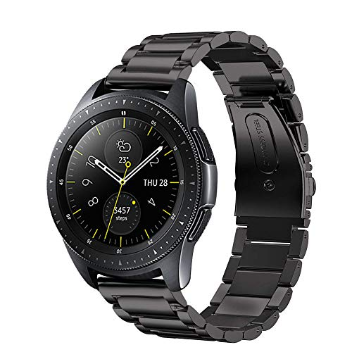Aimtel Compatible Samsung Galaxy Watch(42mm) Bands,20mm Stainless Steel Replacement Bracelet Strap Compatible Samsung Galaxy Watch SM-R810/SM-R815 /Gear Sport/Suunto 3 Fitness Smart Watch-Black