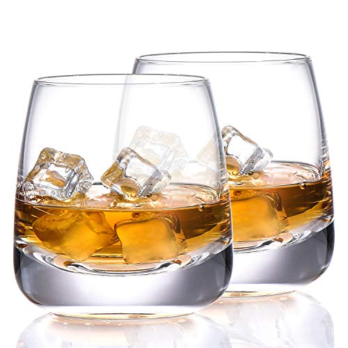 TOOWELL Old Fashioned Whiskey Glass Set of 2 Cocktails Glasses Hand Blown Scotch Glass Tumblers Heavy Base 9OZ Rocks…