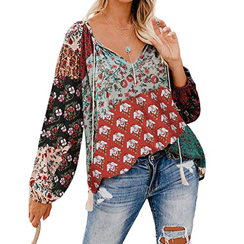 Long Sleeve for Women Tops,Ladies Casual V Neck Floral Print T-Shirt Loose Drawstring Tunic Blouses Tops - Whites Tunic