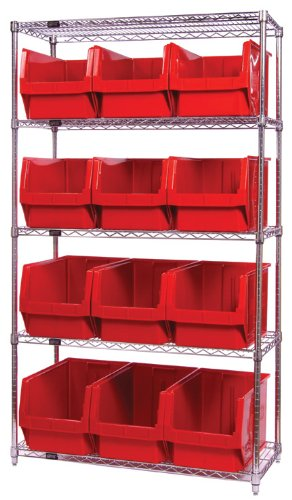 Quantum Storage Systems WR5-533BK 5-Tier Complete Wire Shelving System with 12 QMS533 Black Magnum Bins, Chrome Finish, 18