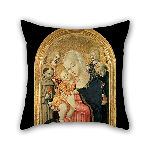 Oil Painting Matteo De Giovanni - Madonna And Child With Angels And Saints Cushion Covers 16 X 16 Inches / 40 By 40 Cm Gift Or Decor For Outdoor,bar,study Room,relatives,her,car Seat - Each Side