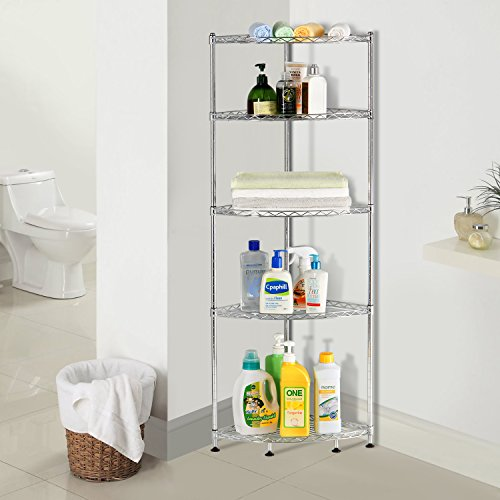 Living Room Corner Shelf: Lifewit Corner Shelf 5 Tiers Adjustable Metal Storage Wire