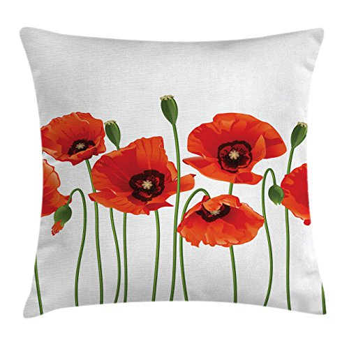 Spring Floral Pillow - Ambesonne Floral Throw Pillow Cushion Cover, Poppies of Spring Season Pastoral Flowers Botany Bouquet Field Nature Theme Art, Decorative Square Accent Pillow Case, 16 X 16 Inches, Orange Green