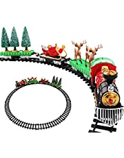 Retro Railway Train with Locomotive, 3 Cars and 9 Tracks, Christmas Trains Set for Under The Tree, Smoke, Realistic Sounds and Lights,Classic Toy Train for Boys Girls