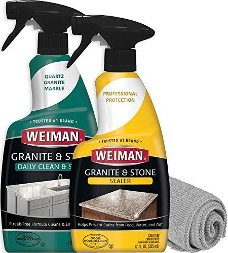 (Weiman Granite Sealer and Cleaner and Polish (Microfiber Cloth) for Granite Marble Soapstone Quartz Quartzite Slate Limestone Corian Countertop)