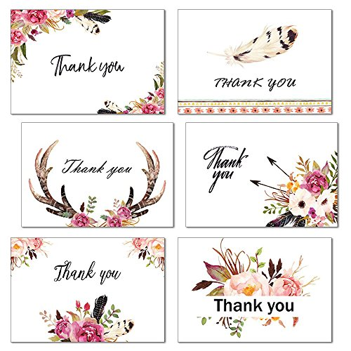 Boho Spirit Thank You Cards, 24 Count Floral Flower Thank You Notes, 6 Chic Designs for All Occasions, Blank Inside, Greeting cards with Envelopes and Stickers, 4×6 Inches