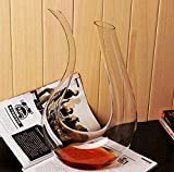 Wine Decanter Wine Carafe Decanter 100% Hand Blown Lead-free Crystal U Shaped 1.8L Great Capacity Personalized Wine aerator for Wine Gifts and Wine Accessories, Clear