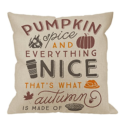 HGOD DESIGNS Pumpkin Pillow Case by Throw Pillow Case Spice Cotton Linen Square Cushion Cover Standard Pillowcase for Men Women Home Decorative Sofa Armchair Bedroom Livingroom 18 x 18 inch