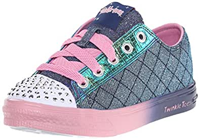 Skechers Kids Twinkle Toes Chit Chat Light-Up Lace-Up Sneaker  , Navy/Pink, 1 M US Little Kid