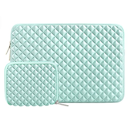 MOSISO Laptop Sleeve Compatible 2018 MacBook Air 13 A1932 Retina Display/MacBook Pro 13 A1989 A1706 A1708 USB-C 2018 2017 2016/Surface Pro 6/5/4/3, Diamond Foam Lycra Bag with Small Case, Mint Green