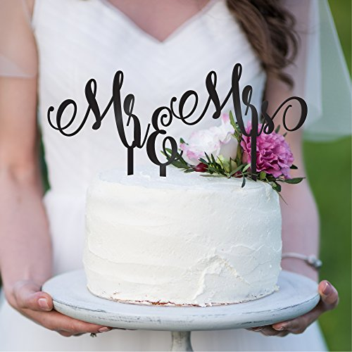 Monogram Wedding Cake Toppers Mr & Mrs - Silhouette of Bride and Groom | Rustic Wedding Cake Toppers (9 Different Colors) #W10 ()