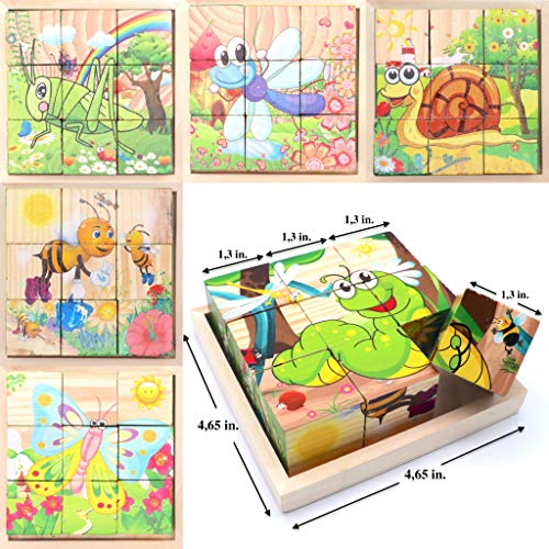Wooden Cube 3D Puzzle - Insect Animals | Wooden Cubes - 3D Puzzle (6 in 1) with Tray | Developing of Fine Motor Skills, Memory Toys for Kids | Learning Shape, Color and Sorting (Insect Animals) ()