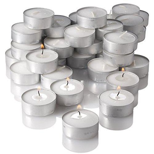 New York Candle and Company Unscented Candles Set, Tealight, White 125 ct