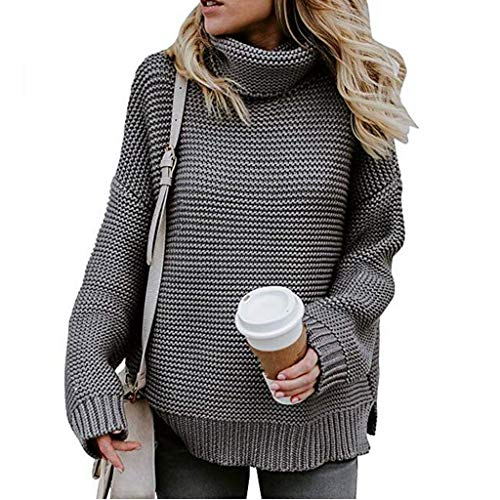 INIBUD Oversized Sweaters for Women Turtleneck Long Sleeve Chunky Knit Pullover (DMG, US M)