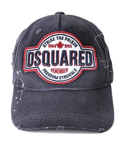 DSQUARED2 Baseball Cap Blue Distressed Break The Rules New