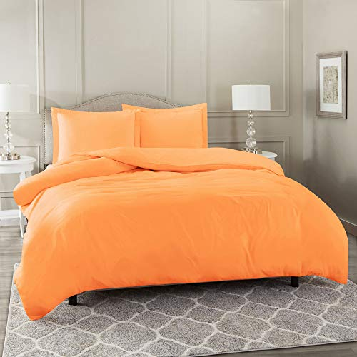 "Nestl Duvet Cover 2 Piece Set – Ultra Soft Double Brushed Microfiber Hotel-Quality – Comforter Cover with Button Closure and 1 Pillow Sham, Light Orange - Twin (Single) 68""x90"""