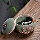 TLMY Retro Creative Ashtray Chinese Embossed Personality Large Crystal Glass Ashtray Home Living Room Covered Ashtray Ashtray (Color : D)
