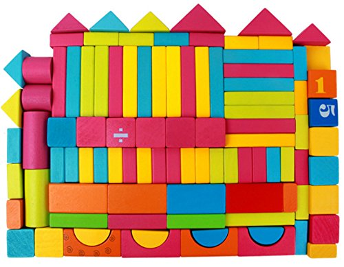 Digital Rainbow Blocks Wood Building Block Set with Carrying Bag and Container 100 (Educolor Blocks)