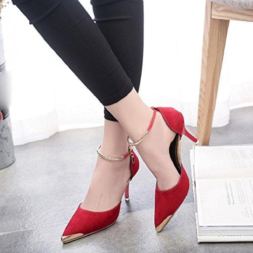 Elevin (tm) Donna Estate Allaperto Scarpe A Punta Con Fibbia Tacchi Alti Pompe Da Sposa Sandalo Scarpe Rosse