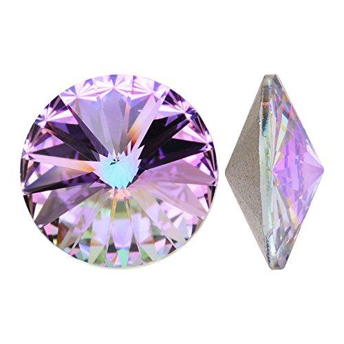 Swarovski Crystal, 1122 Rivoli Fancy Stones 12mm, 4 Pieces, Crystal Vitrail Light F ()