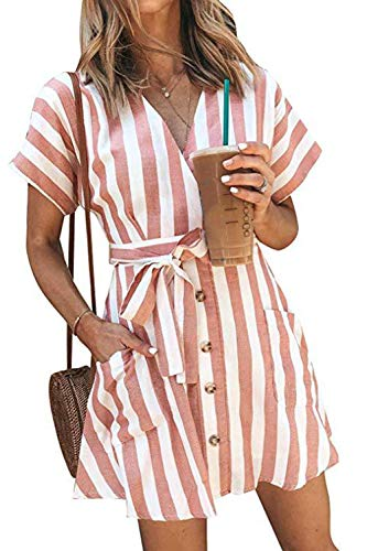 Hiistandd Women's Summer Short Sleeve V Neck Dress with Belt Casual Striped Beach Mini Dress with Pockets(Pink,Small