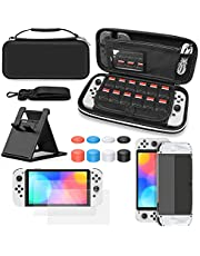 10 IN 1 Carrying Case for Nintendo Switch OLED Model, 2 x Screen Protectors, 3 IN 1 Protective Cover, Thumb Grip Caps x 8, Game Card Slots x12, Play Stand x1, Accessories Bundle for Switch OLED & More