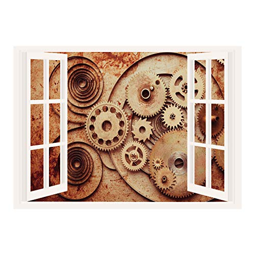 Clock Copper Mechanical (SCOCICI Creative Window View Home Decor/Wall Décor-Copper,Mechanical Clocks Details Old Rusty Look Backdrop Gears Steampunk Design Decorative,Dark Orange Peach/Wall Sticker Mural)