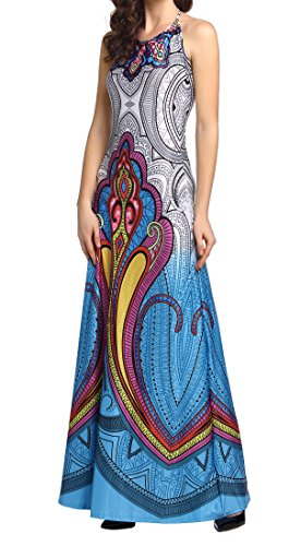 Amoretu Women's Sleeveless Summer Casual Floral African Print Dashiki Long Maxi Dress for Party (Blue, (Modern African Clothing)