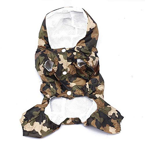 shine-hearty Rain Coat Clothes Camouflage Printed Casual Waterproof Jacket Costumes Outerwear for Small Dogs,MC,XS