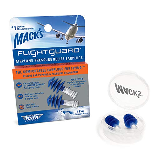 Mack's Flightguard Airplane Pressure Relief Earplugs - 26dB NRR - Comfortable, Safe, Travel Ear Plugs