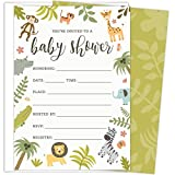 Safari Baby Shower Invitations Set of 25 Fill-In Style Cards and Envelopes. Jungle theme with Monkey, Giraffe, Elephant, Lion and Zebra. Printed on Heavy Card Stock.