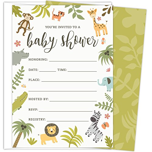 Safari Baby Shower Invitations Set of 25 Fill-In Style Cards and Envelopes. Jungle theme with Monkey, Giraffe, Elephant, Lion and Zebra. Printed on Heavy Card - Animal Invitations Shower Jungle Baby