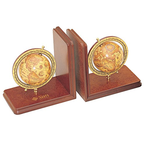 Executive Pair of Wooden Bookends with Globes - Executive Bookends