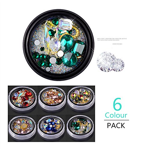 Era Art Glass - Pi-Pi 6 Colour/Pack New Nail Accessories Rhine Stone Crystal Glass Diamond Ornaments Nail Decals