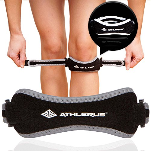 Runners Knee Strap (Reflective Patella Tendon Knee Strap, Knee Pain Relief by Athlerus / Knee Brace Support for Patellar Tendonitis, Runner's Knee, Jumper's Knee, Hiking, Running, Chondromalacia (black))