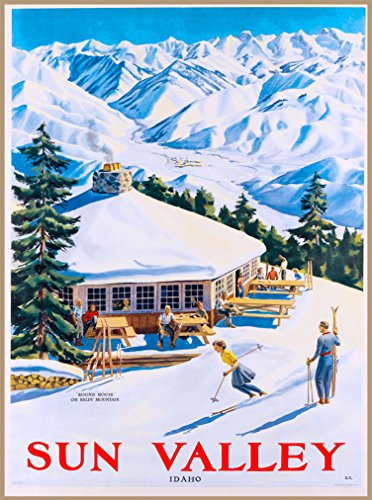 A SLICE IN TIME Sun Valley Idaho 2 Ski Winter United States America Travel Advertisement Art Collectible Wall Decor Poster Print. Poster measures 10 x 13.5 inches