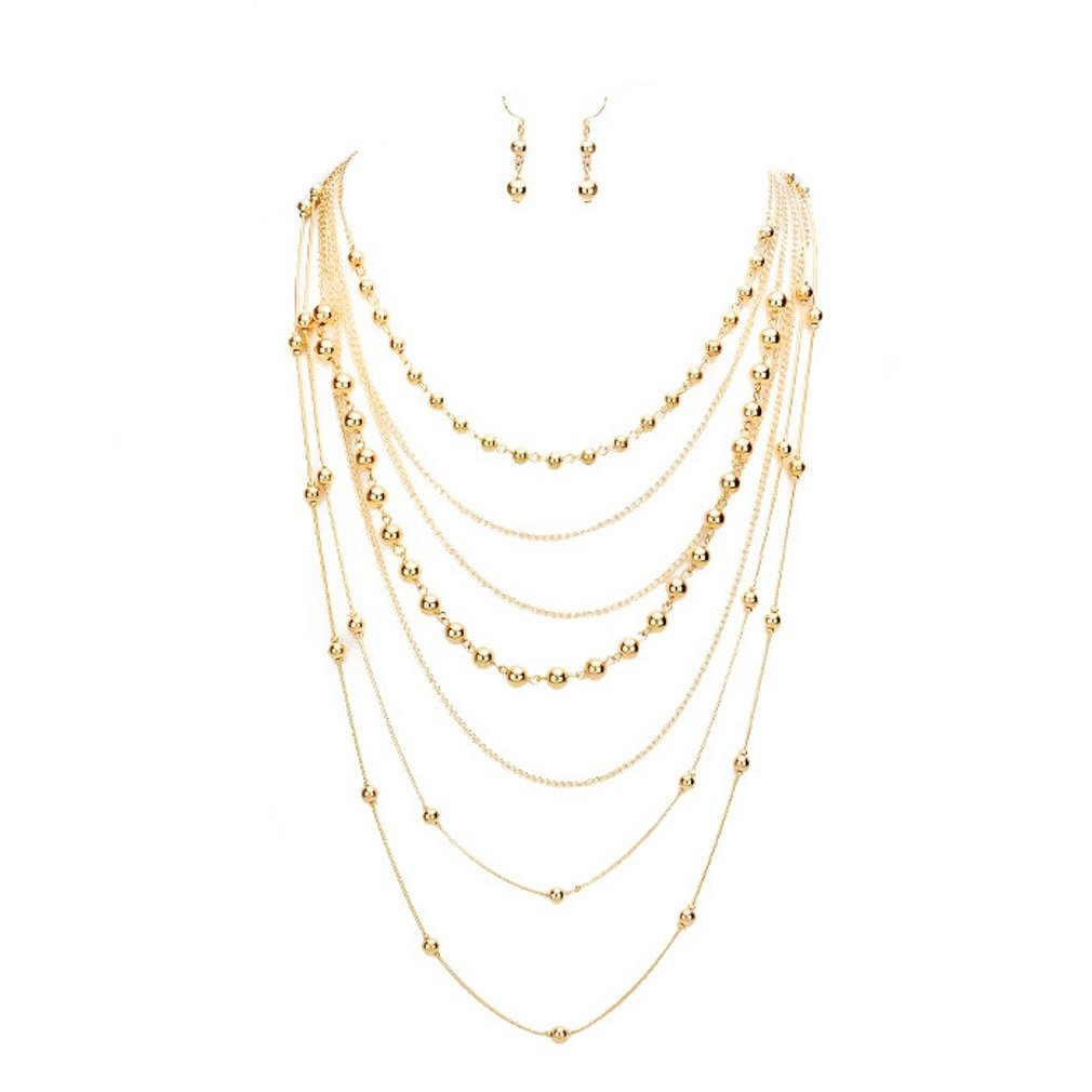 Affordable Wedding Jewelry Uniklook Statement Multi Layered Metal Chain Ball Beads Necklace Earrings Set Gift Bijoux MN9123-G
