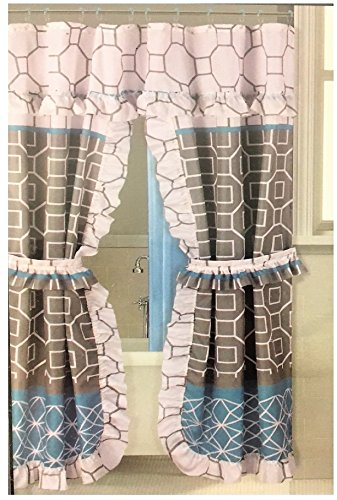 Better Home Double Swag Fabric Shower Curtain/12 Coordinated Rolling Ring Hooks, 2 Tie Backs (Gray Blue Design)