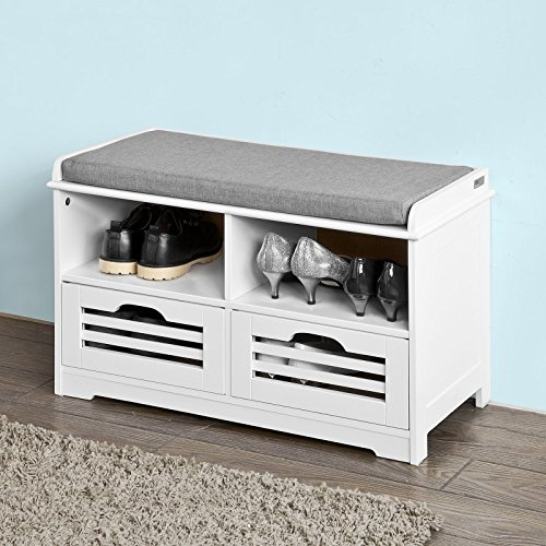 Haotian Faux Leather Storage Ottoman,Folding Storage Bench with Seat Cushion (FSR36-K-W-FBA)