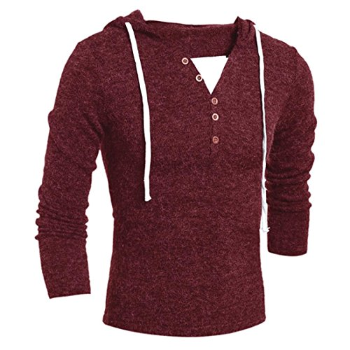 Price comparison product image HANYI Men's Sweater Autumn Winter Fashion Hooded Sweater Jersey Top Jumper (S, wine Red)