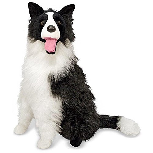 - 1 Piece 22.5 Inches Black White Color Border Collie Puppy Animal Stuffed Toy, Dog For Kids Boys Best Pal Thick Fur Coat Smiling Tongue Huggy Plush Toy, Cute Cuddly Fluffy Pet Animal Themed, Polyester