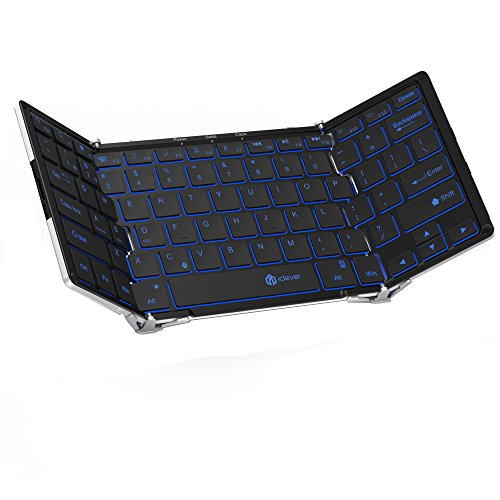 iClever Wireless Folding Keyboard with 3-Color Backlight, Tri-folding Bluetooth Keyboard with Aluminum Alloy Base for iOS Windows Android Tablets, Smartphones, Laptops, PC and More
