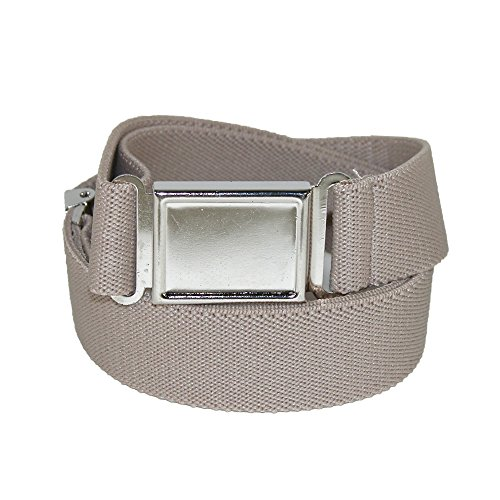 [CTM Kids' Elastic 1 Inch Adjustable Belt with Magnetic Buckle, Khaki] (Buckle Khaki)