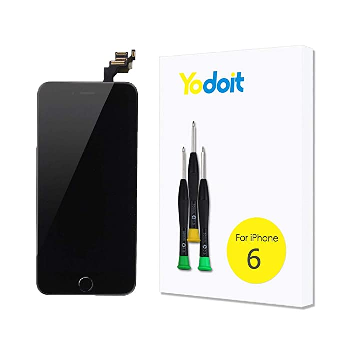 newest f5a9a 18422 Yodoit for iPhone 6 LCD Display and Digitizer Assembly Glass Touch Screen  Replacement with Frame Spare Parts (Front Camera, Proximity Cable, Home ...