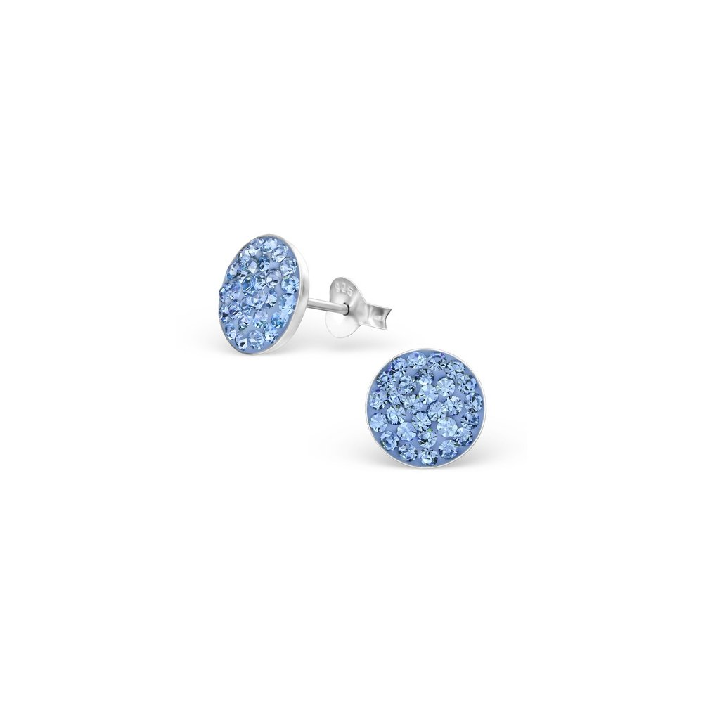 Girls Round Crystal Ear Studs 925 Sterling Silver